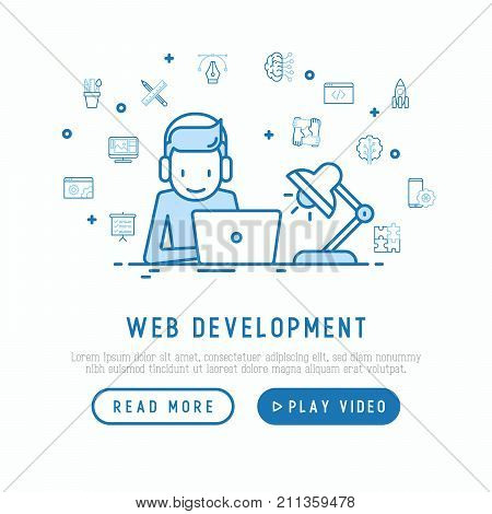 Web developer is working overtime on laptop concept. Template of web page with thin line icons of programming, mobile app, strategy, artificial intelligence, optimization. Vector illustration.