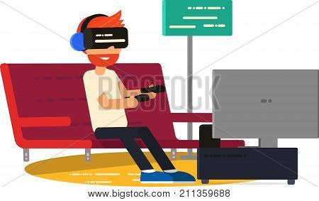 Vector illustration of Man Sitting On Sofa At Home Wearing Virtual Reality Headset. VR Vector Poster. - stock vector