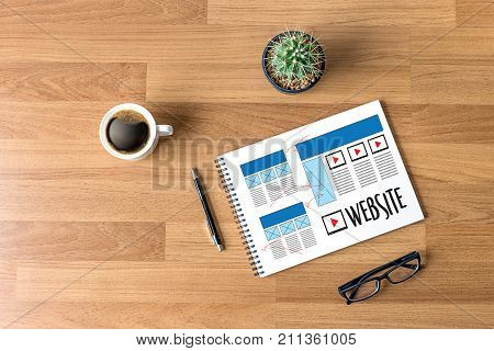 Website designer working layout sketch drawing Software Media WWW and Graphic Layout Website development project poster