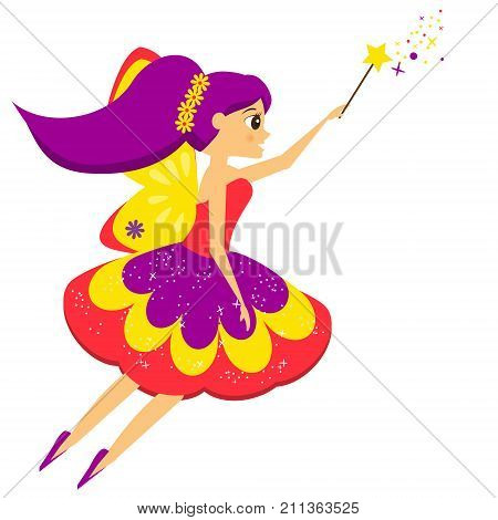 Flying fairy flapping magic wand. Elf princess in cartoon style. Isolated vector illustration for kids and babies