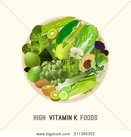 Vitamin K vector illustration. Foods containing vitamin K on a round plate. Source of vitamin K - greens, fruits, vegetables, salads on a light background. Medical, healthcare and dietary concept.