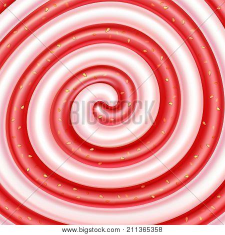 Strawberry jam and yogurt swirls. Sweet spiral background. Dairy and berry mix. Cream jam yogurt milkshake lollipop candy. Vector illustration