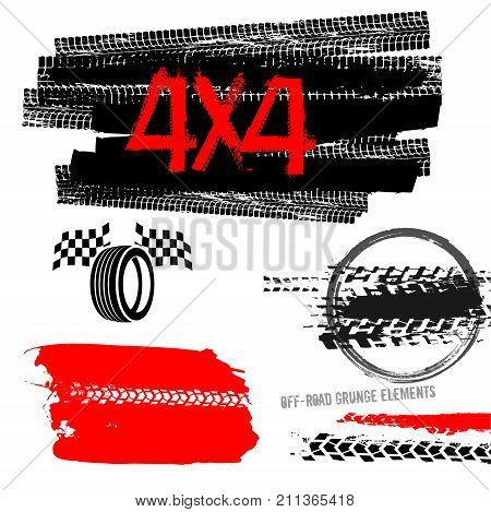 Different off-road elements useful for rally and race poster, placard, print, leaflet design. Editable vector illustration isolated on white background. Automobile collection in red and black colour.