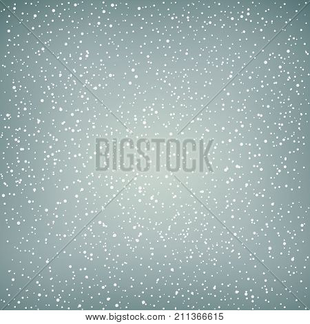Snowfall Snow Falls in the Sky White Snowflakes on Gray Background Vector Illustration