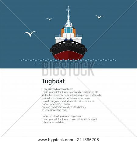 Industrial Vessel Tugboat Push Boat and Text Poster Brochure Flyer Design Vector Illustration