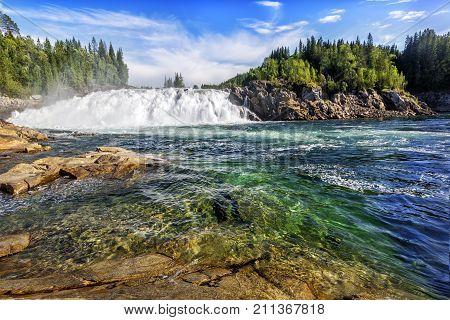 Laksforsen Is A Waterfall Of 17 Meters. Norway.