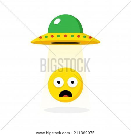 UFO kidnapping yellow emoticon - isolated vector illustration