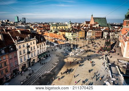 Warsaw, Poland - 01 February 2015: Castle Square with king's Sigismund's Column in Warsaw, Poland