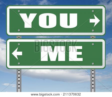 choosing between me and you, your or my opinion mariage crisis or differences leading to divorce and separation having different or separate interests and opinions 3D, illustration