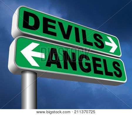 devil and angel good or evil bad heaven and hell road sign arrow 3D, illustration