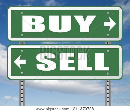 buy or sell market share buying or selling on stock market exchange international trade road sign text 3D, illustration