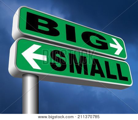 big small size matters no deal or issue 3D, illustration