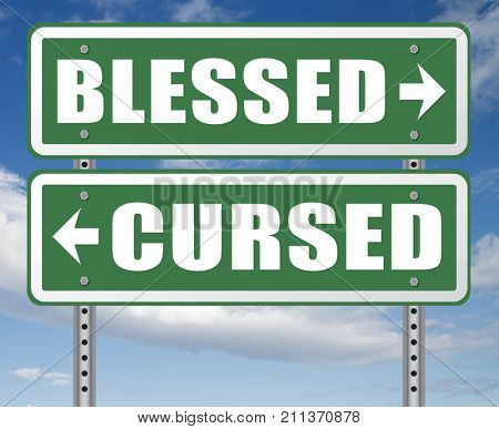 blessed cursed sacred and Devine holy or curse dammed and a burden good or evil spell and good or bad luck God or devil 3D, illustration