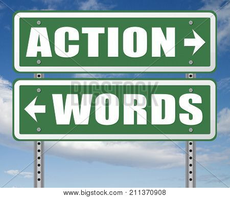 action words the time to act is now or never mister big mouth last stop showing off 3D, illustration