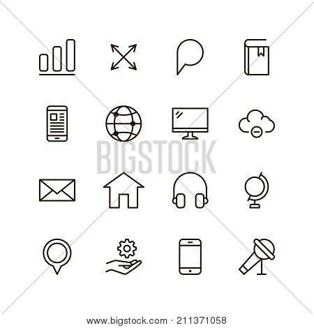 Communication icon set. Collection of high quality outline phone pictograms in modern flat style. Black email symbol for web design and mobile app on white background. Media line logo.