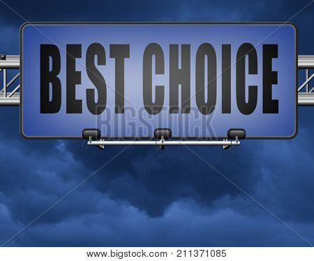 best choice top quality label best sign best product comparison billboard with text and word concept 3D, illustration