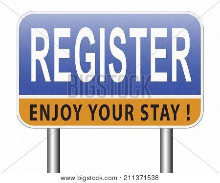 register now member registration road sign membership billboard 3D, illustration