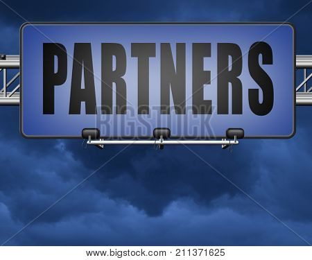 Partners our business partnership and cooperation group in team work 3D, illustration