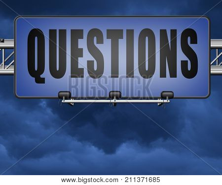 questions and solutions need serious answers helps or support desk information answer question with text and word concept 3D, illustration