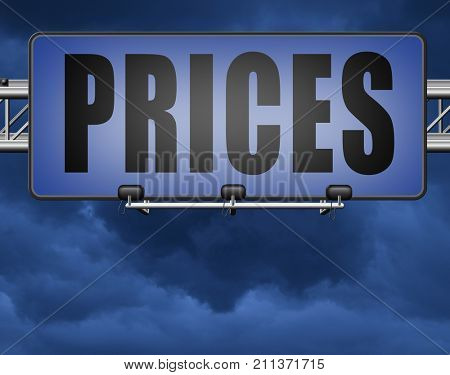 prices for online internet web shop product order, price road sign 3D, illustration