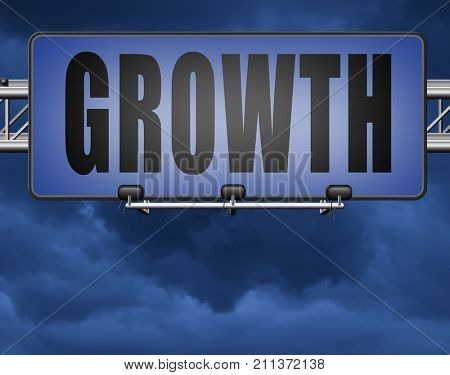 growth grow market stock or business development profit rise increase, road sign billboard. 3D, illustration