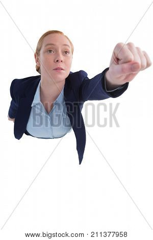 Businesswoman pretending to be a superwoman against white background