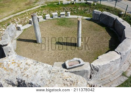 Remains of the first stock exchange in the world - Aizanoi ancient city in Cavdarhisar, Kutahya, Turkey