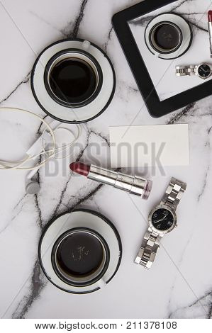 good morning coffee with woman accessories with marble table top on a lazy sunday poster