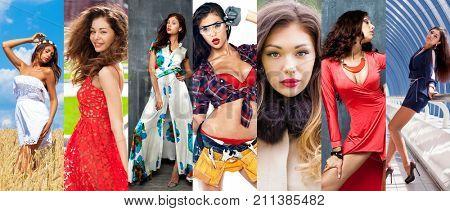 Collage of female faces of one model in different years. Hair beauty models