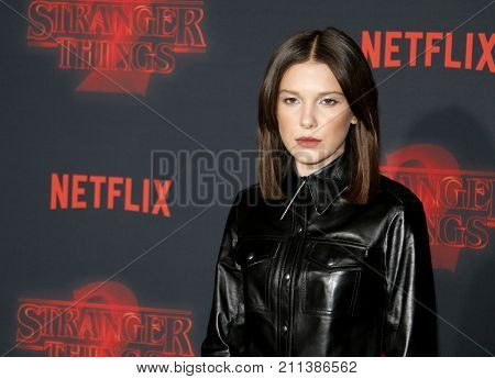 Millie Bobby Brown at the Netflix's season 2 premiere of 'Stranger Things' held at the Regency Village Theatre in Westwood, USA on October 26, 2017.