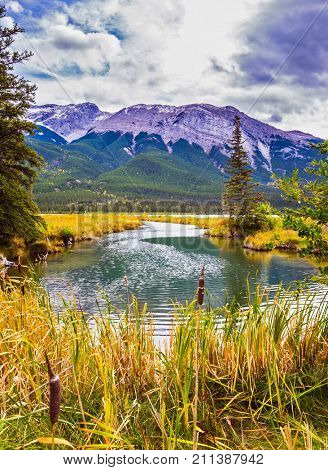 Magnificent journey through the Rocky Mountains of Canada. The valley along the Pocahontas road. Concept of active and ecological tourism. Shallow-water lake, firs and mountains