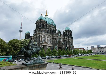 View of Berlin Cathedral, Berliner Dom on Museum Island, Berlin, Germany