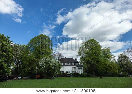 Big, white, home in Hamburg, Germany