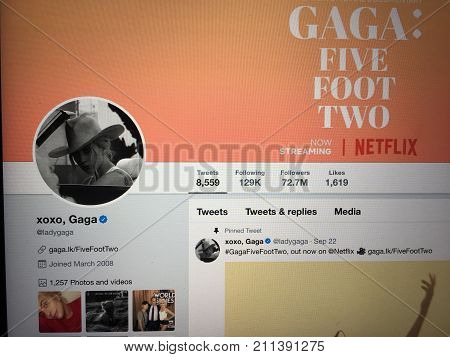 Wuhan China, 30 october 2017: Singe Lagy Gaga official twitter account website page on a laptop screen