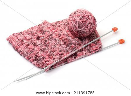 Knitting with needles and yarn ball isolated on white