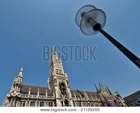 Central tower of Neues Rathaus Marienplatz Munich Germany