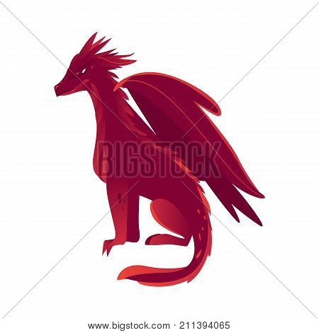 vector flat cartoon colored red fire majestic mythical dragon with horns and wings. Legendary mystery animal creature. Isolated illustration on a white background.