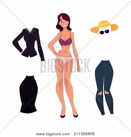 vector flat woman and office suit uniform skirt and blouse, denim jeans, summer hat and sunglasses. Outfit set. Fashionable trendy style female clothing. Isolated illustration on a white background.