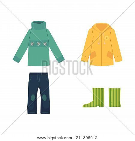 Set of fall, autumn clothes - sweater, jeans, raincoat and rubber boots, cartoon vector illustration isolated on white background. Cartoon set of sweater, jeans, coat and rubber boots, autumn wardrobe