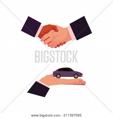 Handshake and hand holding car, automobile selling, leasing, purchase, rental concept, cartoon vector illustration on white background. Car purchase, rental concept with giving hand and handshake