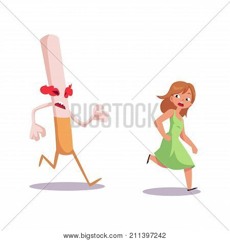 Huge evil cigarette chasing, running after frightened girl, smoking as threat, cartoon vector illustration isolated on white background. Girl running from huge evil cigarette monster