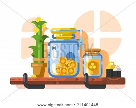 Savings and storage golden coins in glass jar. Finance deposit currency in bank, investment wealth. Vector illustration