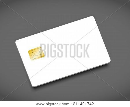Blank bank credit chip card, empty card mockup