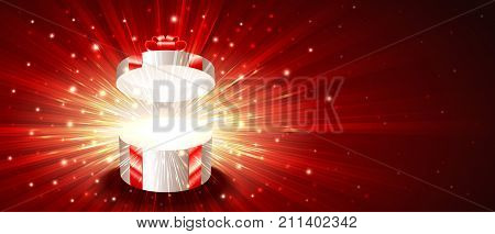 Open gift box with exploding firework of glitters on light rays. Greeting card for Christmas New Year Birthday. Vector background banner of post card illustration. Flyer leaflet proportion 8.5x3.66