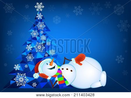 Abstract polygonal Christmas tree and lying snowman in red mittens - vector
