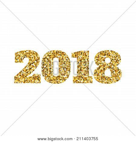 Happy new 2018 year. Gold glitter particles. Shine gloss brilliance sparkles sign. Holidays design element for calendar, party invitation, card, poster, banner, web.