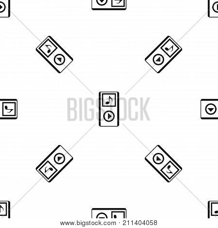 Mini MP3 portable player pattern repeat seamless in black color for any design. Vector geometric illustration