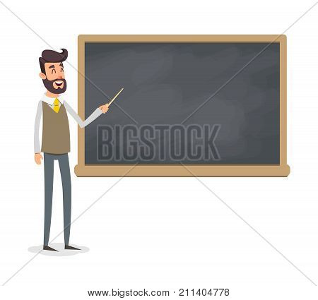 The teacher in the classroom near the blackboard is teaching a lesson. A young professor at the university is giving a lecture. A man with a beard with a pointer teaches