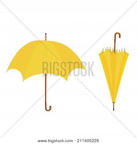 Set collection of two yellow umbrellas opened and closed vector illustration. Umbrella rain umbrella icon