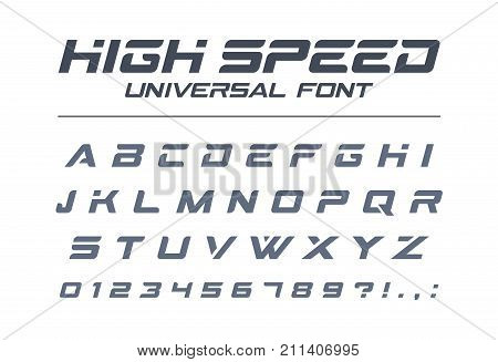 High speed universal font. Fast sport futuristic technology future alphabet. Letters and numbers for military industrial electric car racing logo design. Modern minimalistic vector typeface
